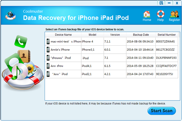 iphone note recovery main interface
