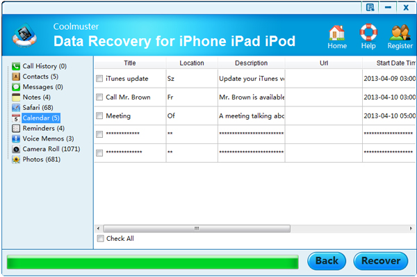 select files for recovering