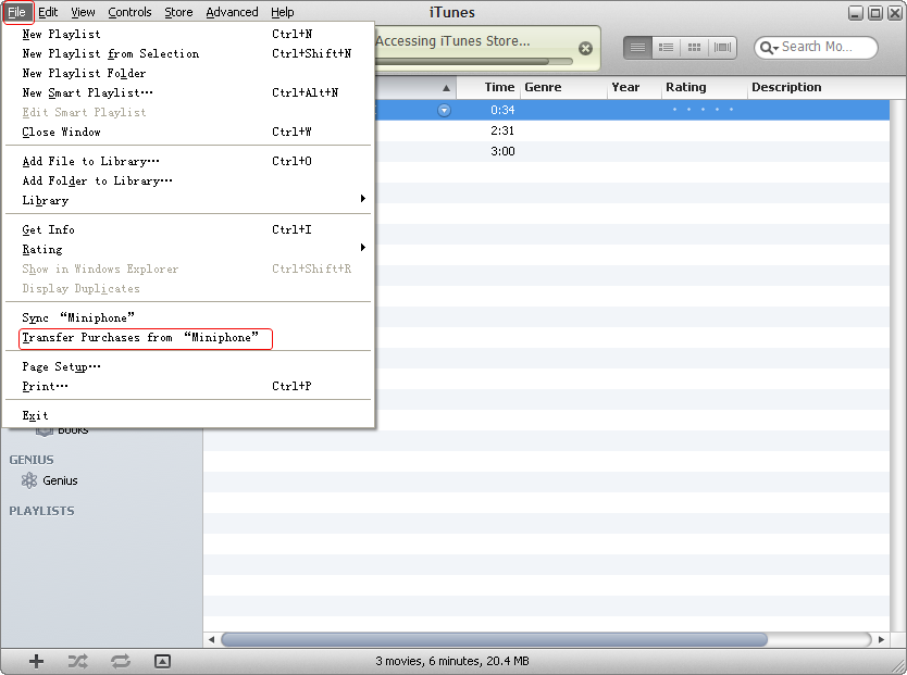 select files in itunes