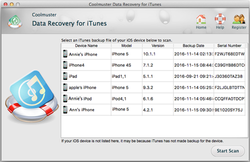 iTunes data recovery for Mac