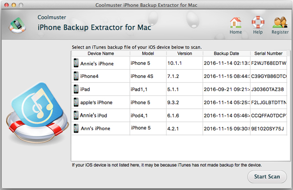 Extract iPhone Lost Data from iTunes Mac