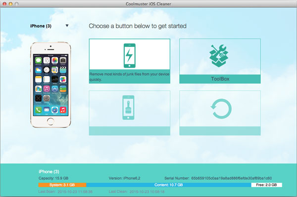 Coolmuster iOS Cleaner for Mac full screenshot