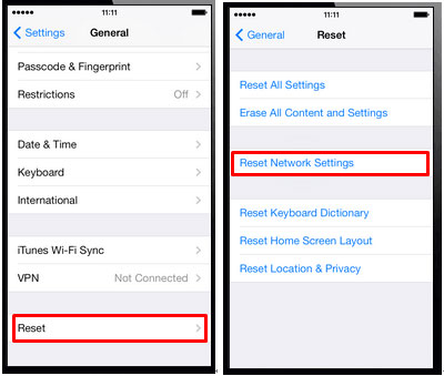 reset iphone network settings