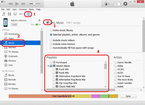 sync itunes library to iphone ipad ipod