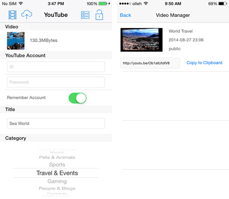 upload iphone videos to youtube