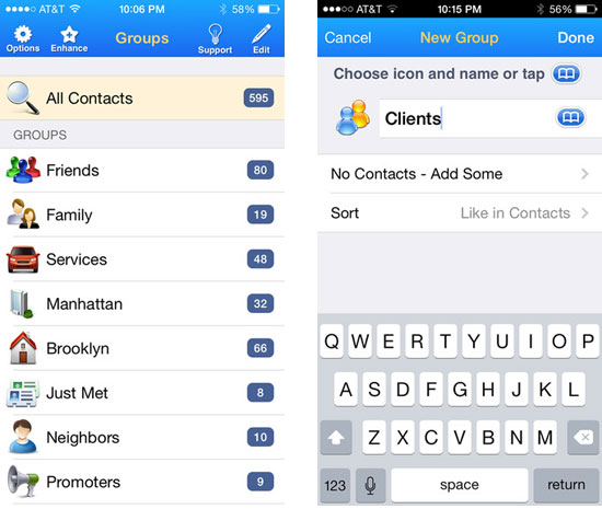 group contacts on iphone