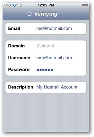 sync hotmail with iphone