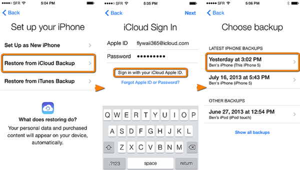restore icloud backup on idevice directly