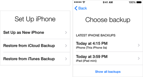 restore the calendars from icloud backup