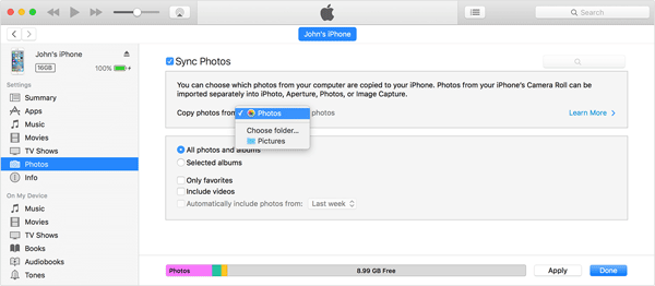 sync photos from iphone to itunes