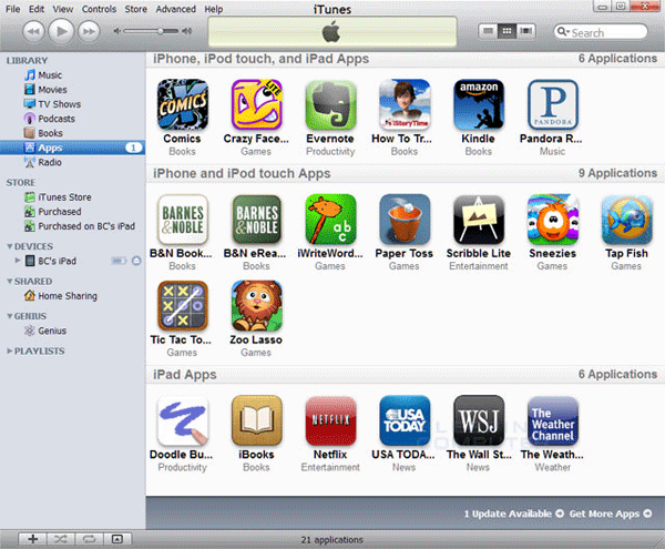 transfer apps from ipad to itunes