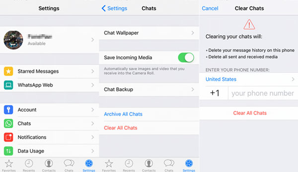 delete whatsapp messages on iphone