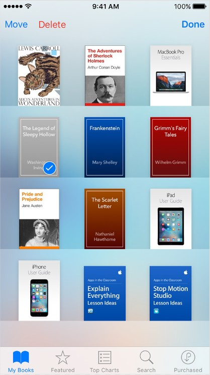 delete purchased books from iphone ipad
