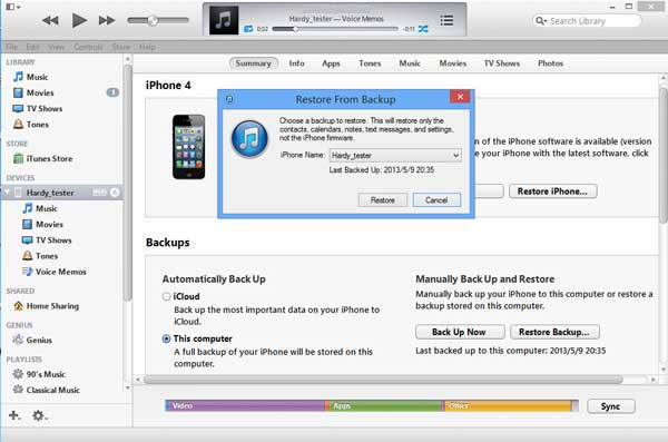 restore iphone over itunes