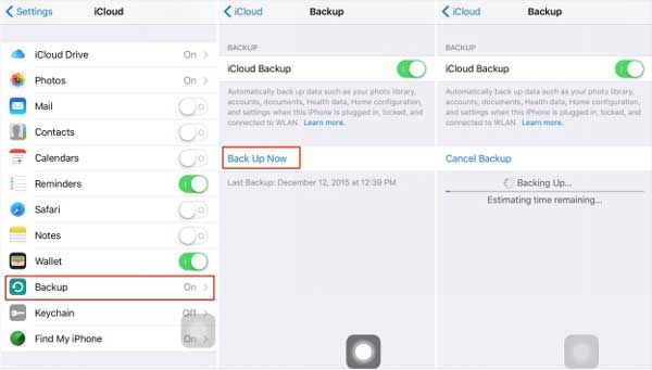 back up iphone to icloud to transfer iphone data to xiaomi