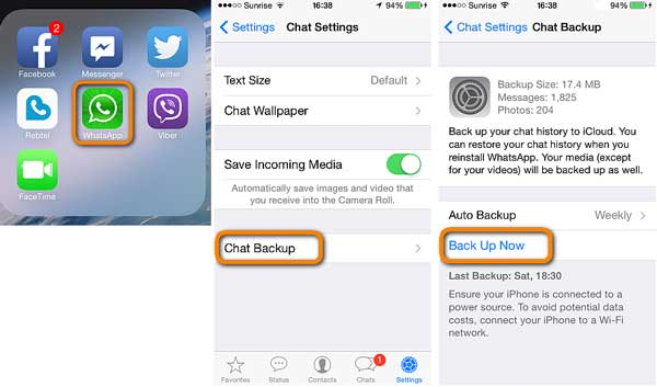 backup whatsapp files on icloud