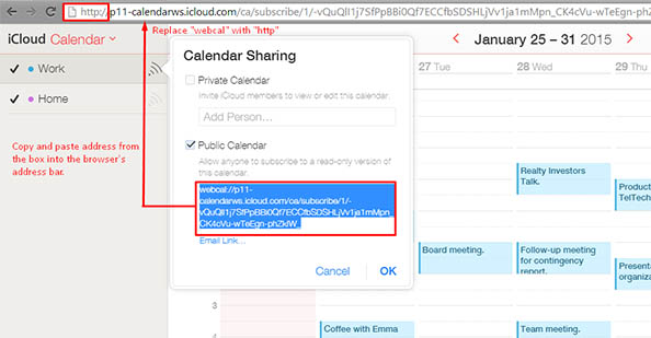 copy icloud calendar download address