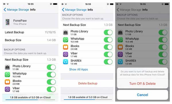 delete icloud backups to fix icloud backup taking forever issue