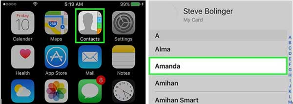 select a contact to change ringtone on iphone