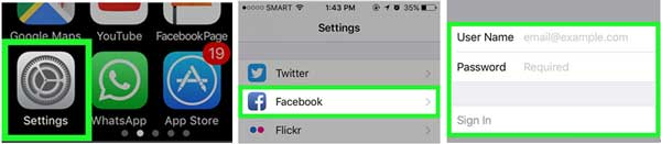 access facebook calendar on iphone settings page