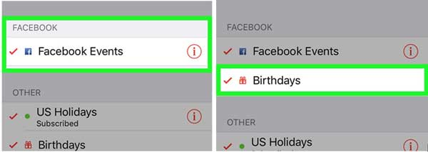 select facebook calendar features to sync with iphone calendar