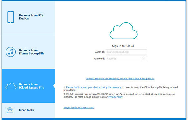 log in icloud account to recover formatted data from iphone
