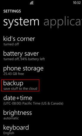 backup windows phone to onedrive