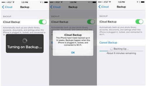 start to sync ios data to icloud for backup