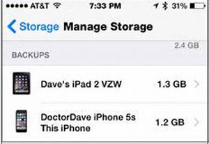 manage storage of ipad