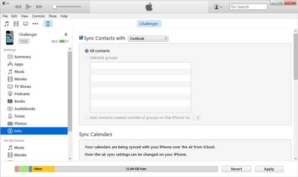 group contacts on iphone via itunes
