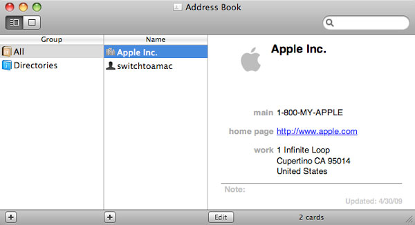 sync contacts via mac address book