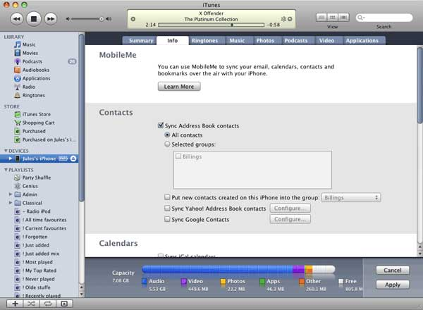sync contacts via itunes