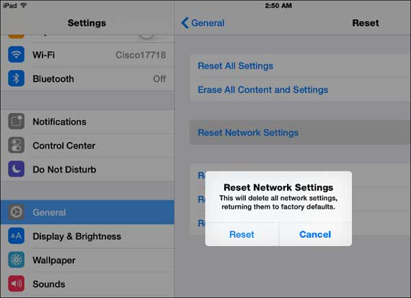 reset network settings to fix airdrop not working