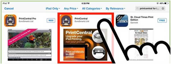 download printcentral to connect iphone to printer