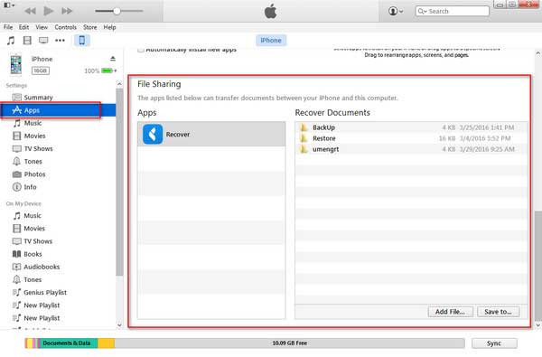 find itunes file sharing