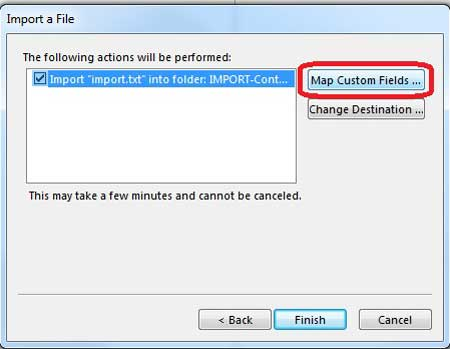 select the map custom fields option