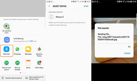 transfer pictures from android to iphone via bluetooth