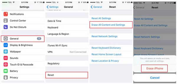 erase all content and settings on iphone to restore from iphone backup