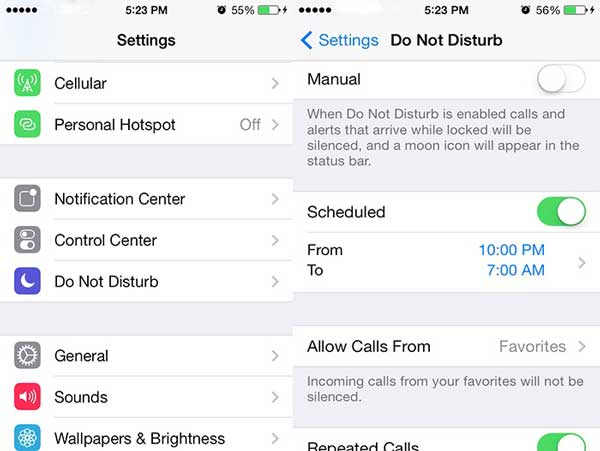 turn off dnd mode on settings