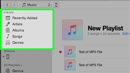 how to add music to ipad - select library option in itunes
