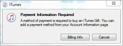 fill payment information to share itunes songs