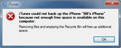 itunes could not back up iPhone