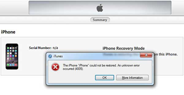 how to fix iphone or itunes error 4005