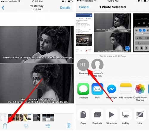 share gifs from iphone to iphone via airdrop