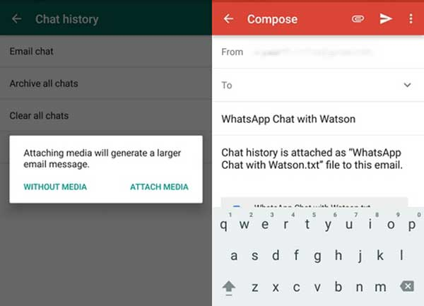 how to transfer whatsapp to new phone via email