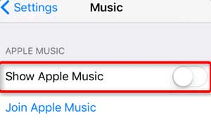 turn off show apple music feature on iphone