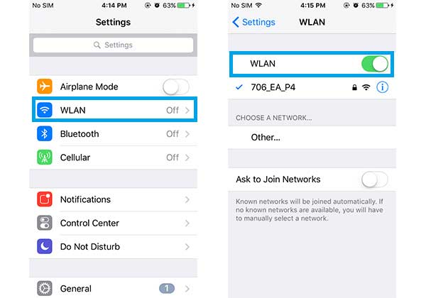 enable wifi on iphone