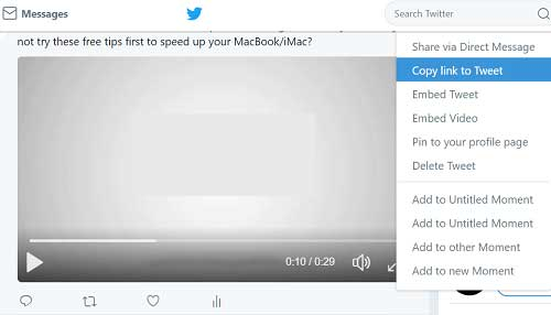 copy link to tweet for downloading twitter videos