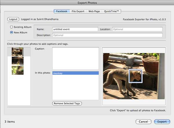 export or upload photo from iphoto to facebook