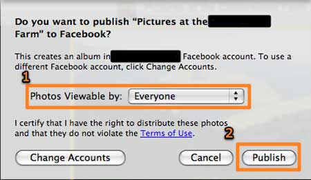 publish photos from iphoto to facebook